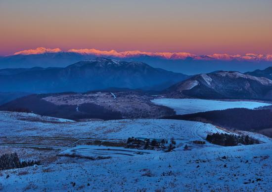 朝焼けの北アルプス絶景|車山高原SKYPARKスキー場のクチコミ画像